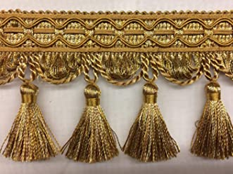 Sold by the yard 2.5 French Tassel Fringe Trim TF-55//12 Antique Gold