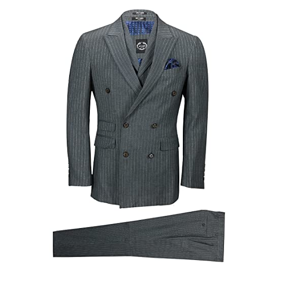 6986f54ce169 Mens Grey 3 Piece Double Breasted Pinstripe Suit Retro Vintage Blazer  Waistcoat Trousers [Chest UK