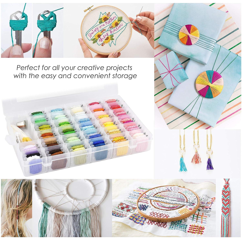 Floss Bobbins and 38 Pcs Cross Stitch Kits Embroidery Floss Cross Stitch Threads Darley 99 Colors Friendship Bracelet String with Organizer Storage Box