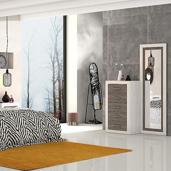 duehome HomeSouth - Espejo de Pared, Mural con Luna Modelo Lara, Acabado en Color Andersen Pino y Gris, Medidas: 180 cm (Alto) x 60 cm (Ancho) x 3,5 cm (Fondo): Amazon.es: Hogar