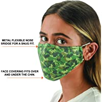 Snoozies Face Coverings For Women & Men - Washable Face Covering w 4 Disposable Filters - Reusable Face Covering - Flexible Nose Bridge - Adjustable Ear Bands - 3 Layers of Fabric - Camo