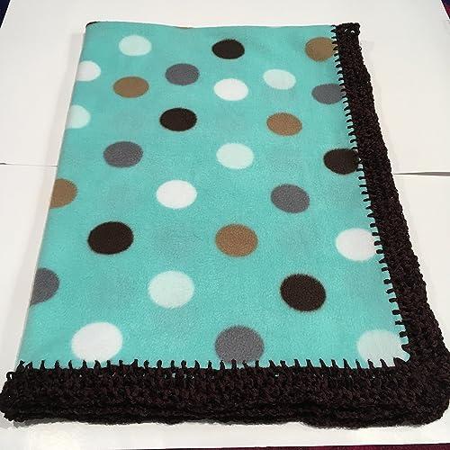 c7309304c07e3 Amazon.com: Green Mint Polka Dot Fleece Baby Swaddle Blanket ...