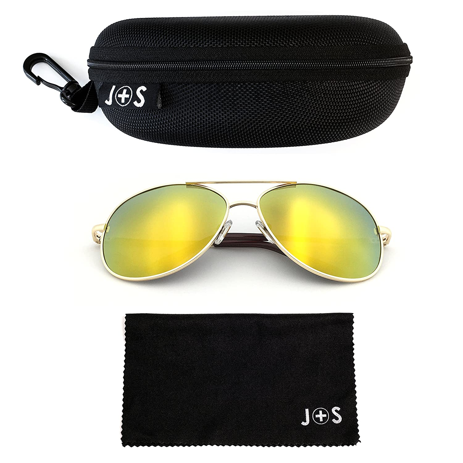 J+S Premium Military Style Classic Aviator Sunglasses, Polarized, 100% UV protection (Large Frame - Silver Frame/Green Mirror Lens