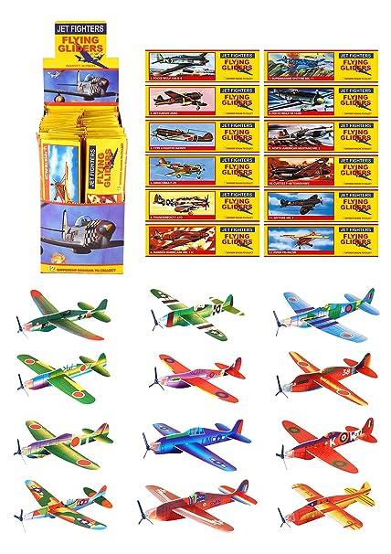 Kits 48 Aviones Vuelo Planeador - Relleno para bolsas de fiestas de niños - Aviones de la WWII segunda guerra mundial