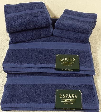 Ralph Lauren Classic 6 piezas Juego de toallas de baño – 100% algodón – azul