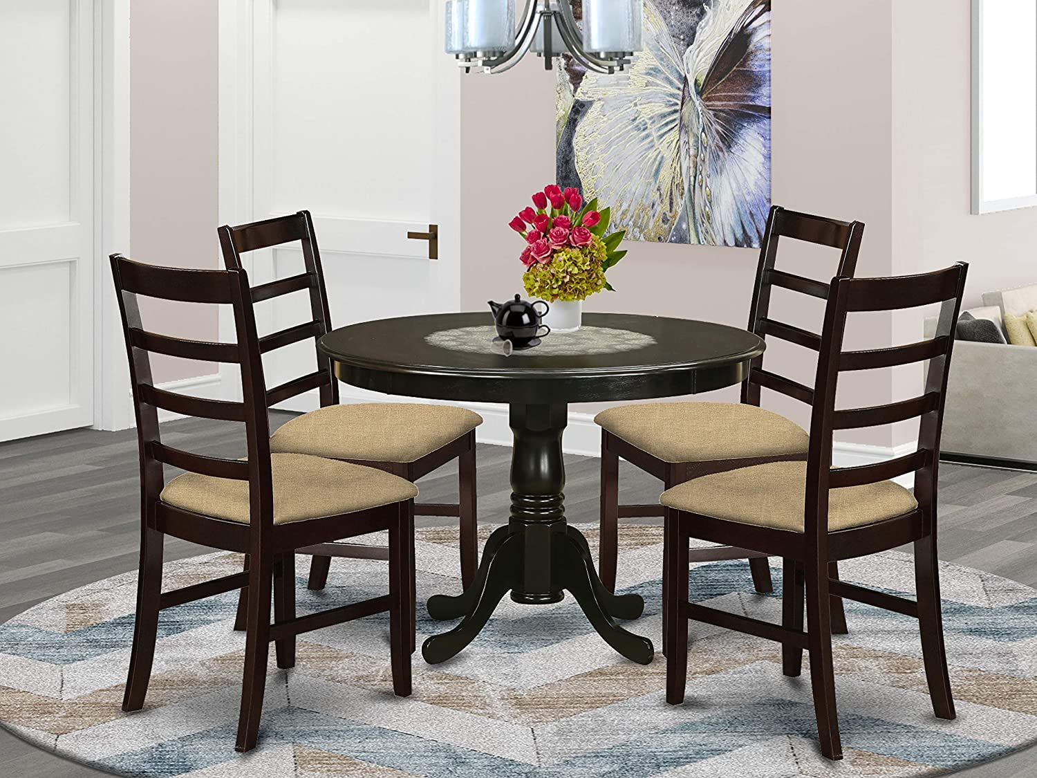 East West Furniture HLPF5-CAP-C Kitchen Dining Set 5 Pc - Linen Fabric Dining Chairs Seat – Cappuccino Finish Kitchen Dining Table and Frame