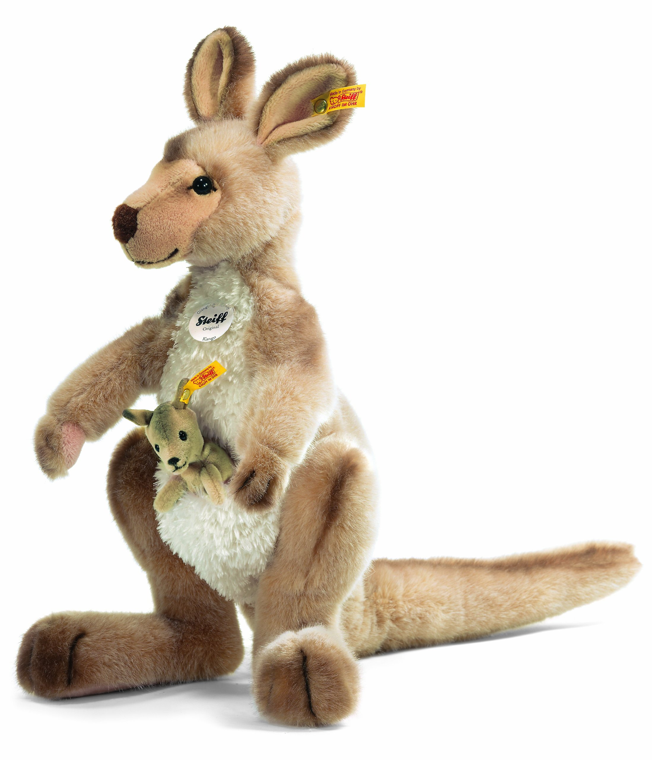 Steiff 064623 Kango Kangaroo Plush Animal Toy, Beige Tipped by Steiff