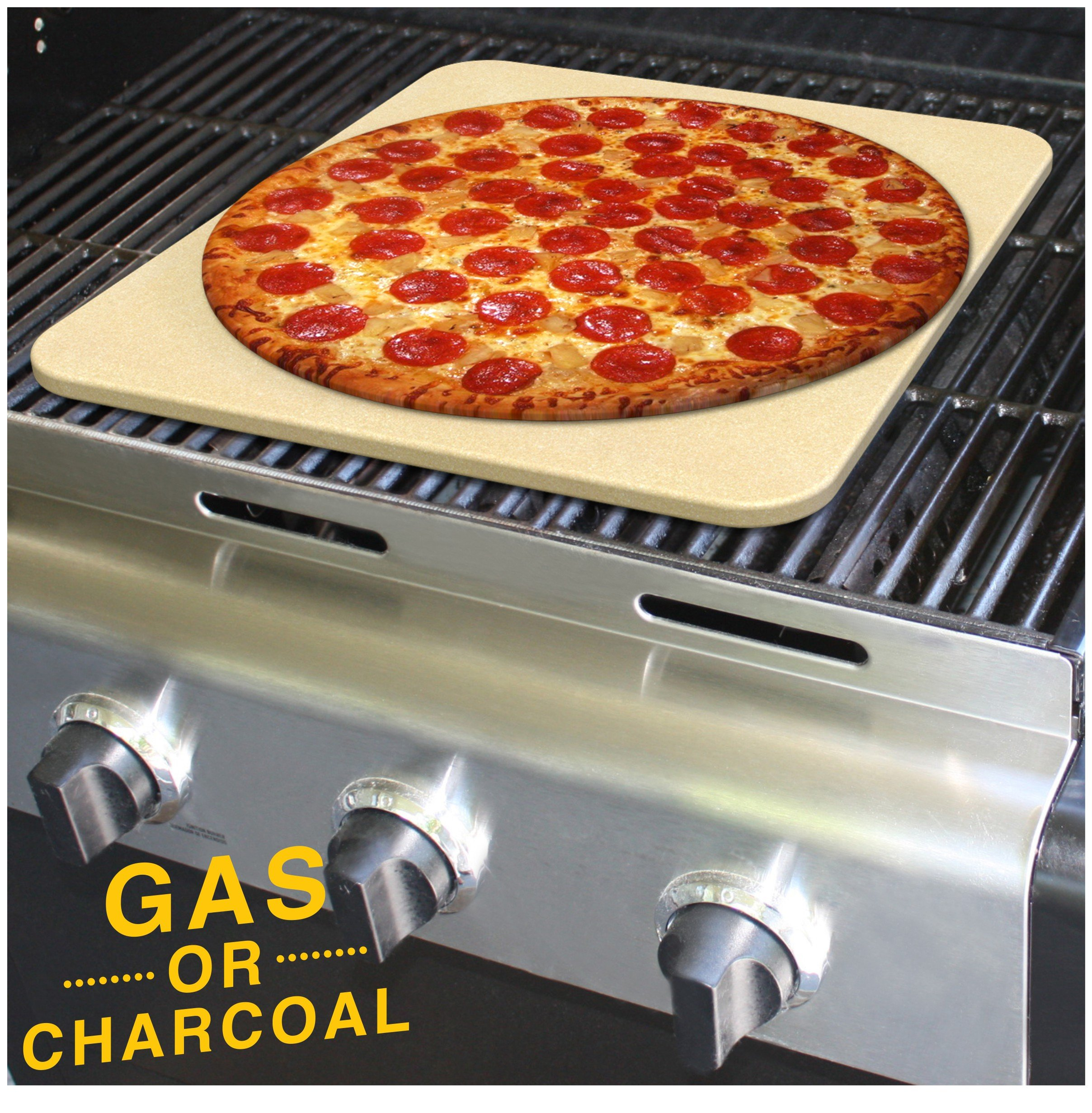 Pizza Stone for Best Crispy Crust Pizza, Only Stoneware with Thermarite (Engineered Tuff Cordierite). Durable, Certified Safe, Ovens & Grills 14 x 16 Rectangular, Bonus Recipe Ebook & Free Scraper by CastElegance (Image #4)