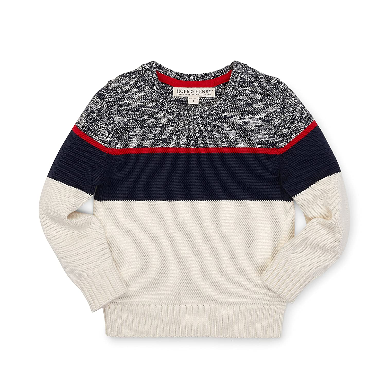 Hope & Henry Boys' Navy Crew Neck Marled Sweater Made with Organic Cotton
