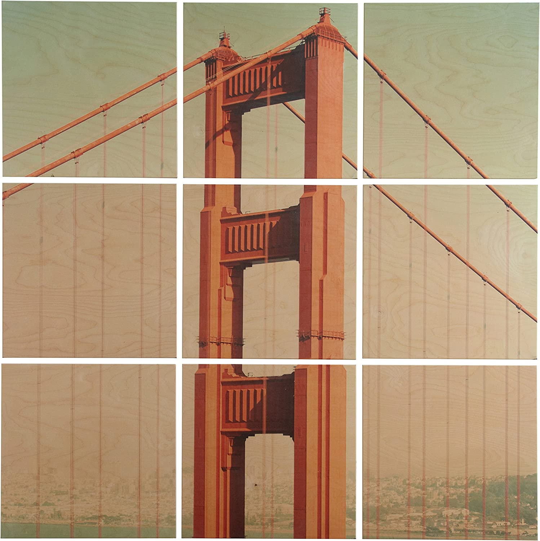 Amazon Brand – Rivet 9-Piece Golden Gate Bridge Mural Wall Art on Wood, 48