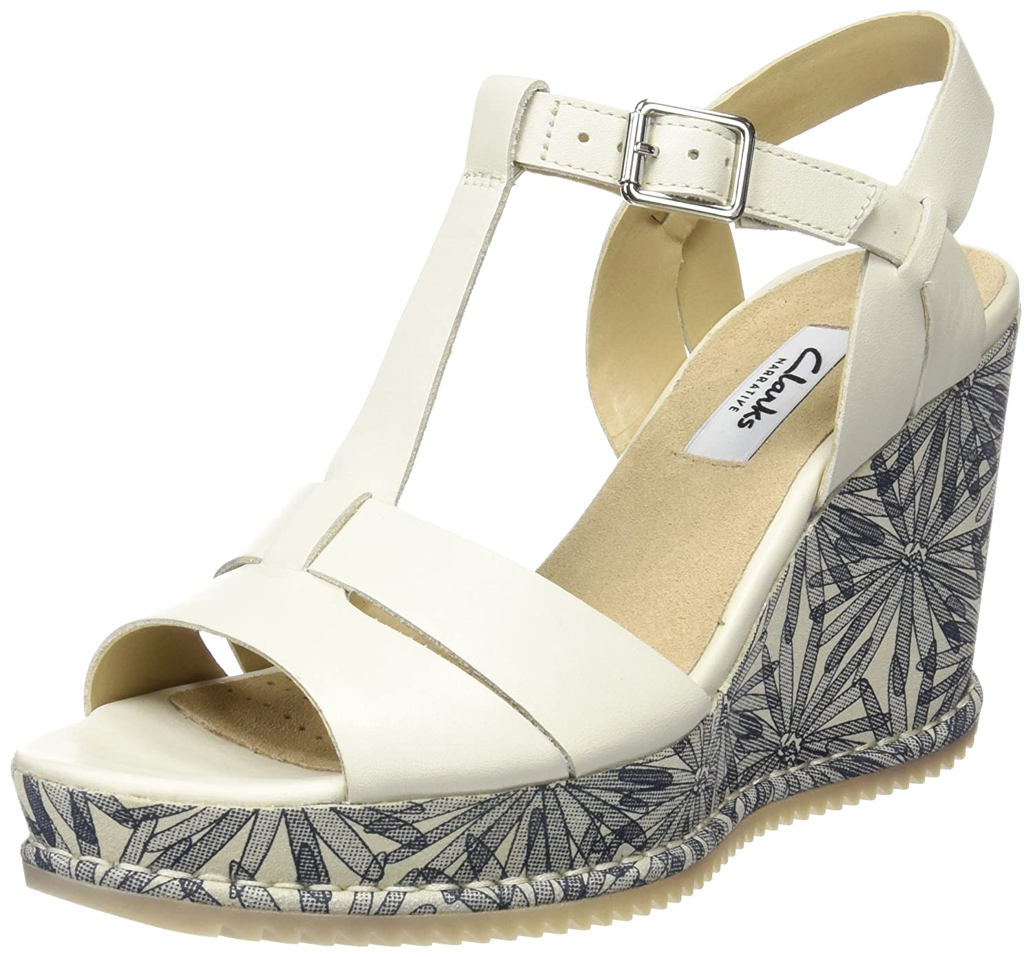 Bianco (bianca Leather) Clarks 261232264, Seali con Zeppa Donna