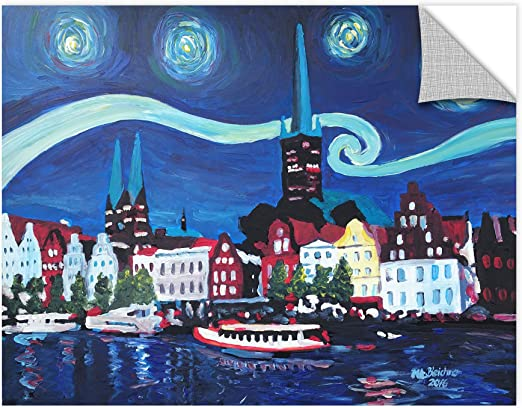 Marcus//Martina Bleichner Starry Night In Luebeck Germany With Van Gogh Inspirations Removable Wall Art Mural 36X48