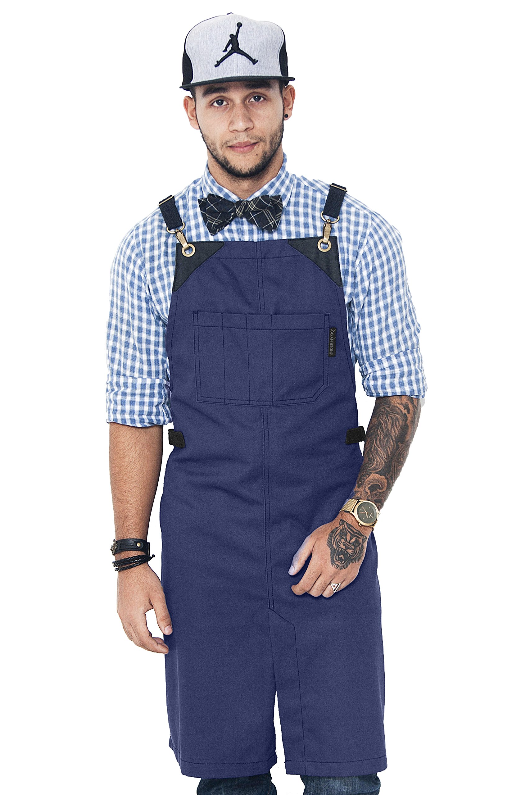 Under NY Sky Barber Indigo Blue Apron – Cross-Back with Durable Waterproof and Oil Proof Twill, Leather Reinforcement and Split-Leg – Adjustable, Men and Women, Pro Tattoo, Stylist, Bartender Aprons