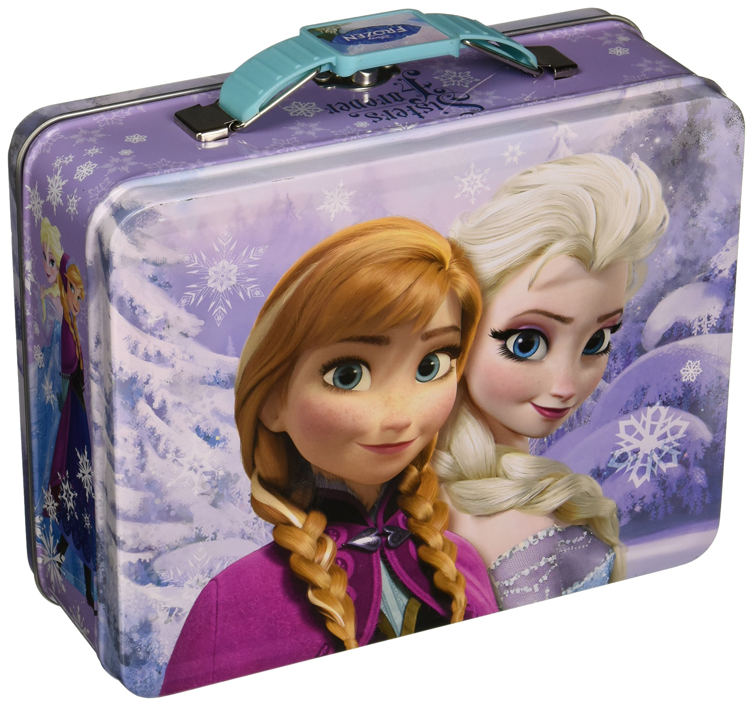 Anna /& Olaf Semi-round Shaped Blue Tin Box Disney Frozen Elsa