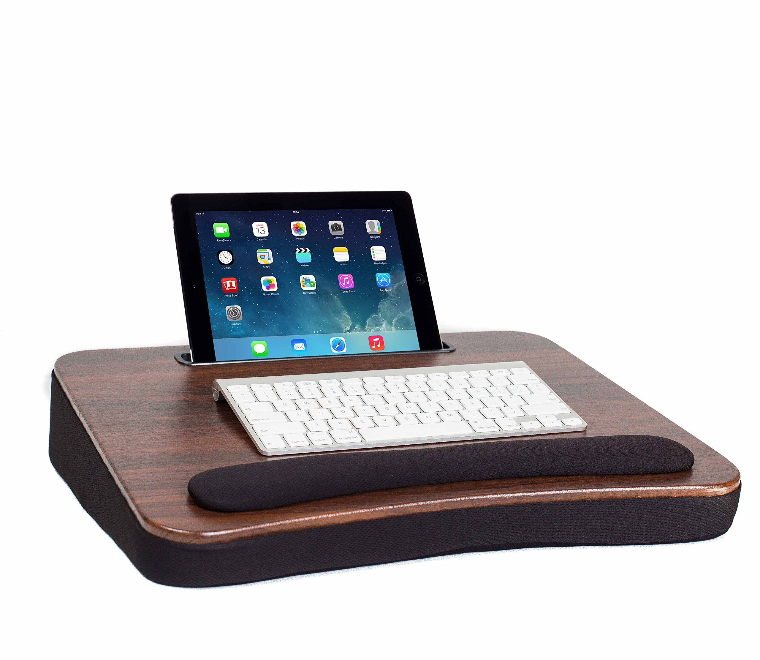 Sofia + Sam All Purpose Memory Foam Lap Desk (Wood Top) with Tablet Slot | Supports Laptops Up To 17 Inches