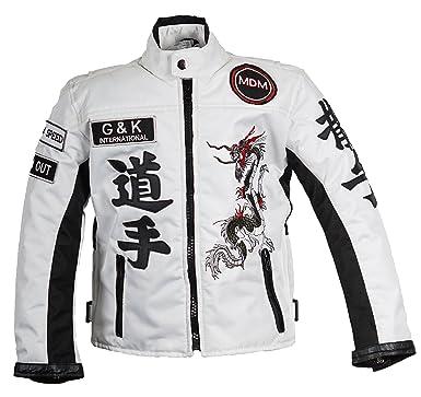 sale retailer 3c569 a3977 MDM Racing Jacke Weiß für Kinder, Motorradjacke aus Textil, Bikerjacke