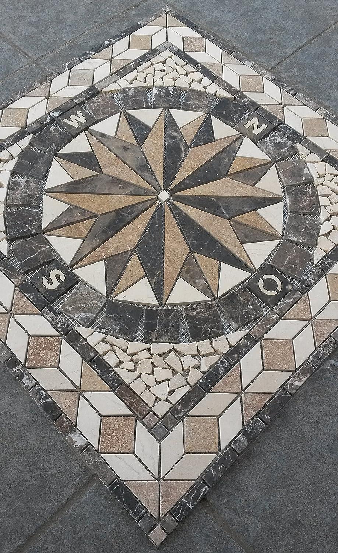 Rosace Mosaique en carrelage 30x30 cm x 8 mm rose des vents rosso verona