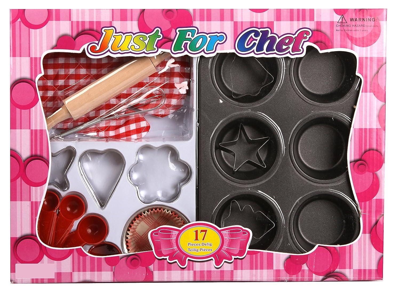 17 tlg echtes Kinder Backset Metall mit Ausstecher Muffins Nudelholz für Spielküche uvm