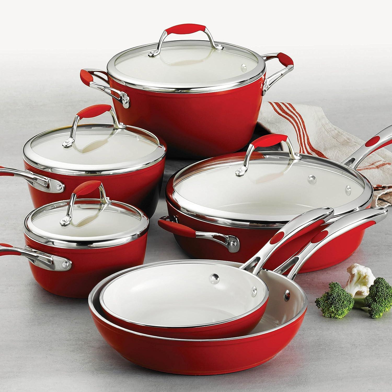 Tramontina 80110 202DS Gourmet Ceramica Deluxe Cookware Set, PFOA- PTFE- Lead and Cadmium-Free Ceramic Exterior Interior, 10-Piece, Metallic Red, Made in Italy