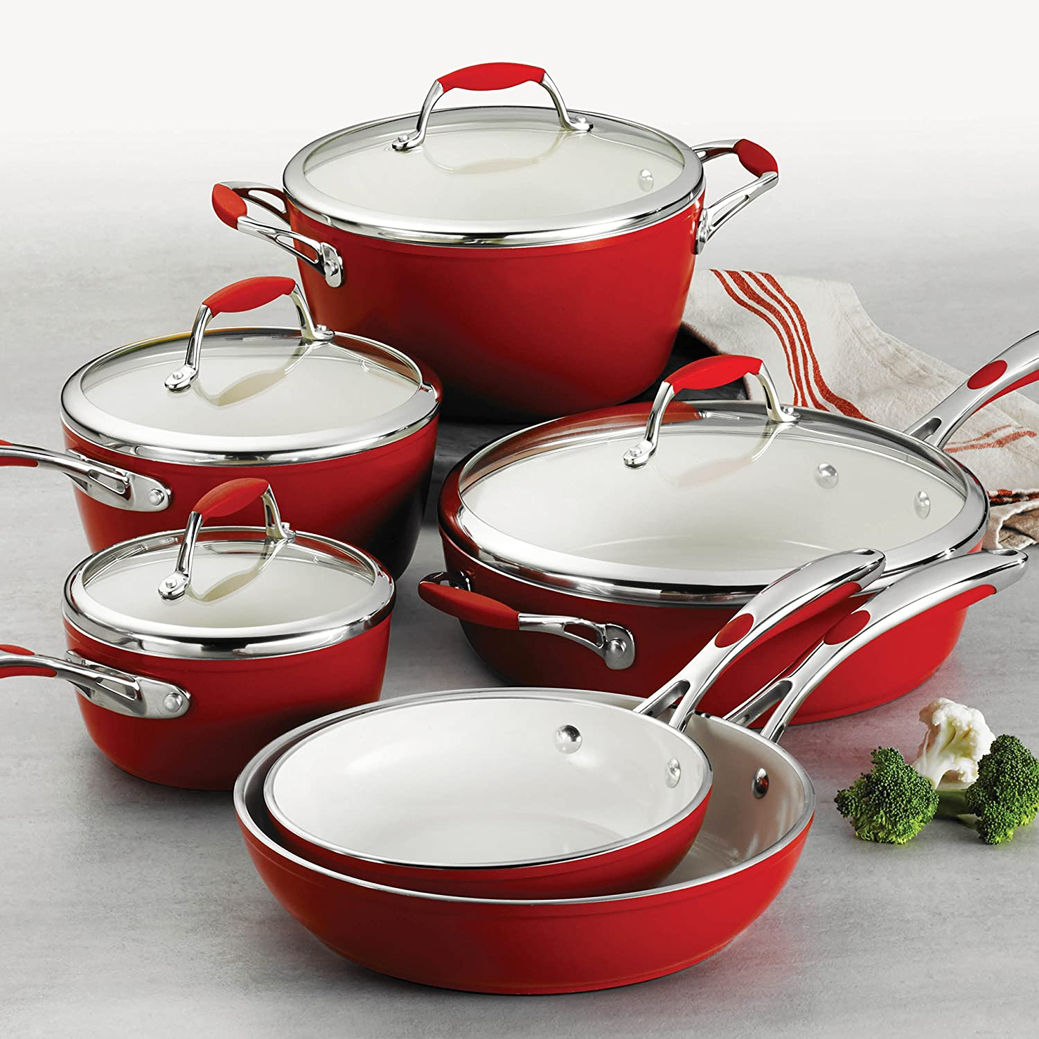 Tramontina 80110 202DS Gourmet Ceramica Deluxe Cookware Set, PFOA- PTFE- Lead and Cadmium-Free Ceramic Exterior Interior, 10-Piece, Metallic Red, Made in Italy