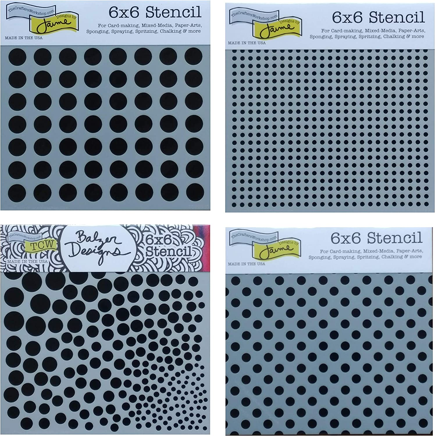 4 Crafters Workshop Mixed Media Stencils Set | Dots, Bubble, Polka Dot, Grid Stencil