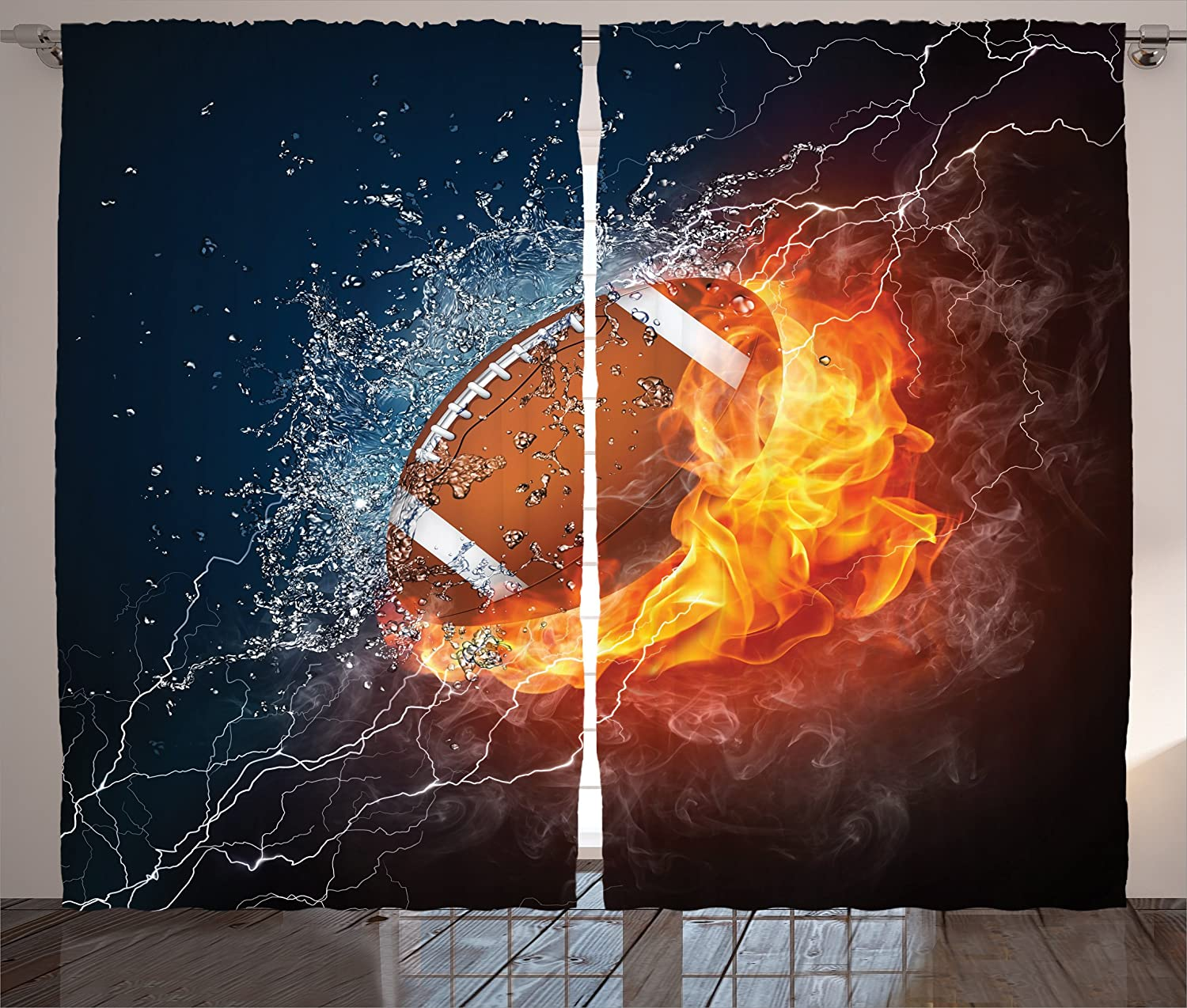 Ambesonne Sports Curtains, Football on Fire and Water Flame Splashing Thunder Bolt Abstract Conceptual Art, Living Room Bedroom Window Drapes 2 Panel Set, 108