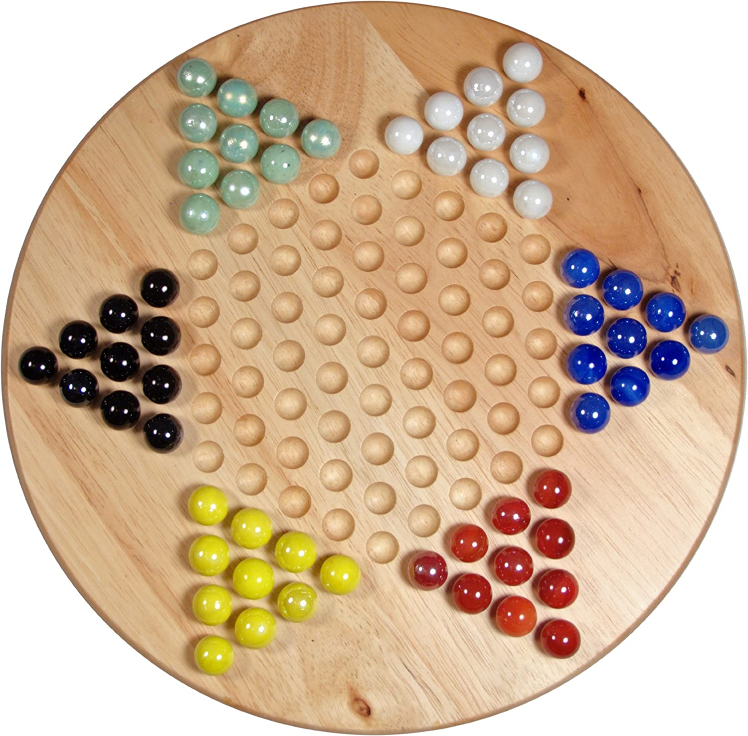 "B0006IH89C Solid Wood 11.5"" Chinese Checkers Set with Glass Marbles 91NbcI2B3E0L"