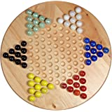 "Solid Wood 11.5"" Chinese Checkers Set with Glass Marbles"