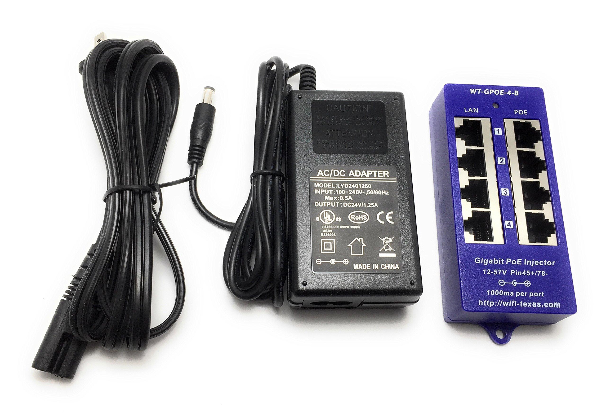 WT-GPOE-4B-24v30w Gigabit 4 Port Passive PoE Power over Ethernet Injector - 24 volts for Ubiquiti, Mikrotik