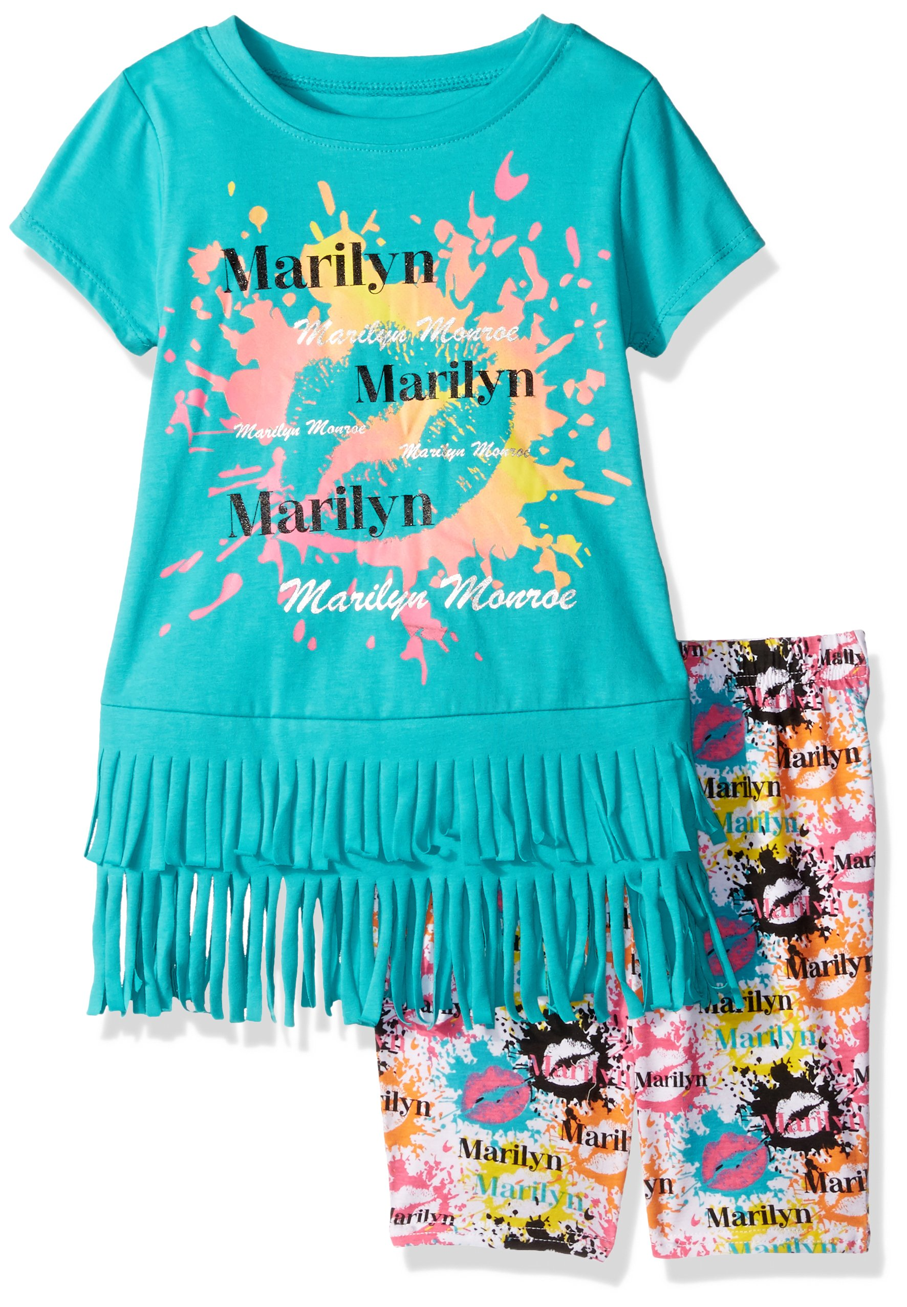 Marilyn Monroe Big Girls' Fashion Bike Short Set, Teal, 10