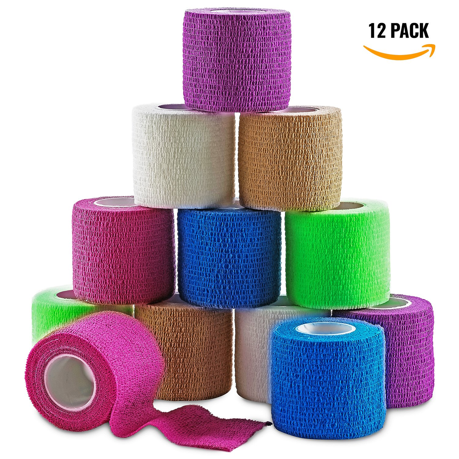 MEDca Self Adherent Cohesive Wrap Bandages 2 Inches X 5 Yards 12 Count with Strong Elastic and Colorful First Aid Tape for Sprain Swelling and Sorenes (Rainbow Color)