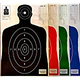 SON OF A GUN Paper Shooting Targets, HIGH SHOT PLACEMENT VISIBILITY, LIFE SIZE B-27 Silhouettes, Four Color Combo Package, 25 Each-100 Total Count, GET MORE BANG FOR YOUR BUCK! BEST PRICES ANYWHERE!