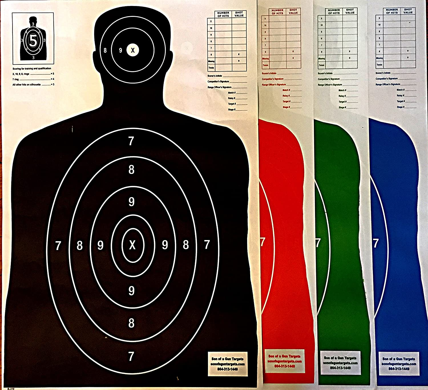 Son of A Gun Paper Shooting Targets, HIGH Shot Placement Visibility, Life  Size B-27 Silhouettes, Four Color Combo Package, 25 Each-100 Total Count,