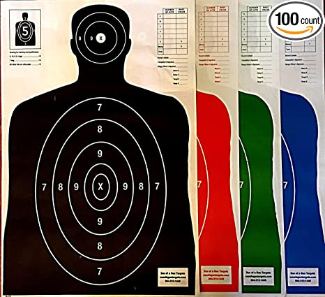 Review SON OF A GUN Paper Shooting Targets, HIGH SHOT PLACEMENT VISIBILITY, LIFE SIZE B-27 Silhouettes, Four Color Combo Package, 25 Each-100 Total Count, Gun, Rifle, Pistol, Airsoft, BB Gun, Air Rifle