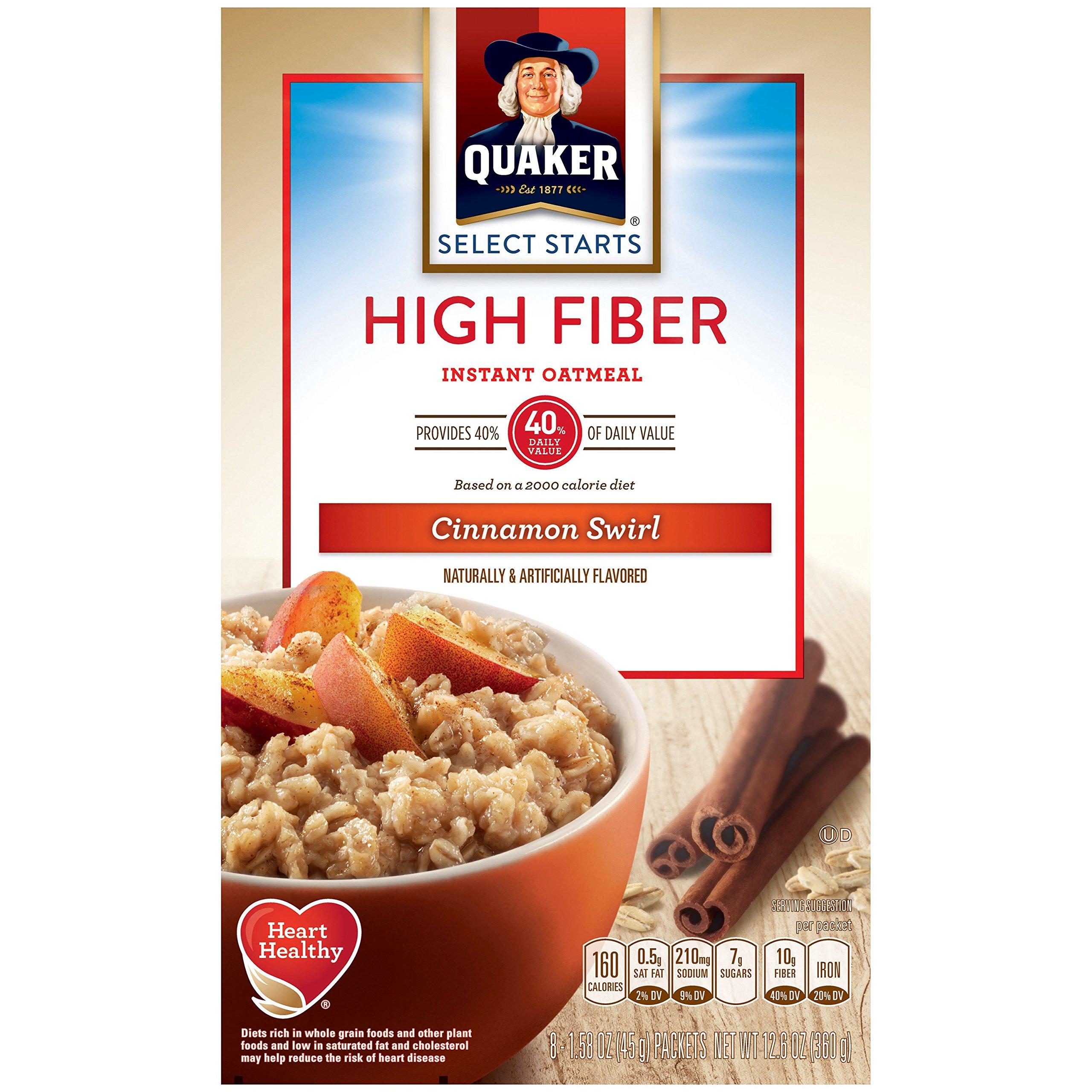 Quaker Instant Oatmeal High Fiber Cinnamon Swirl Breakfast