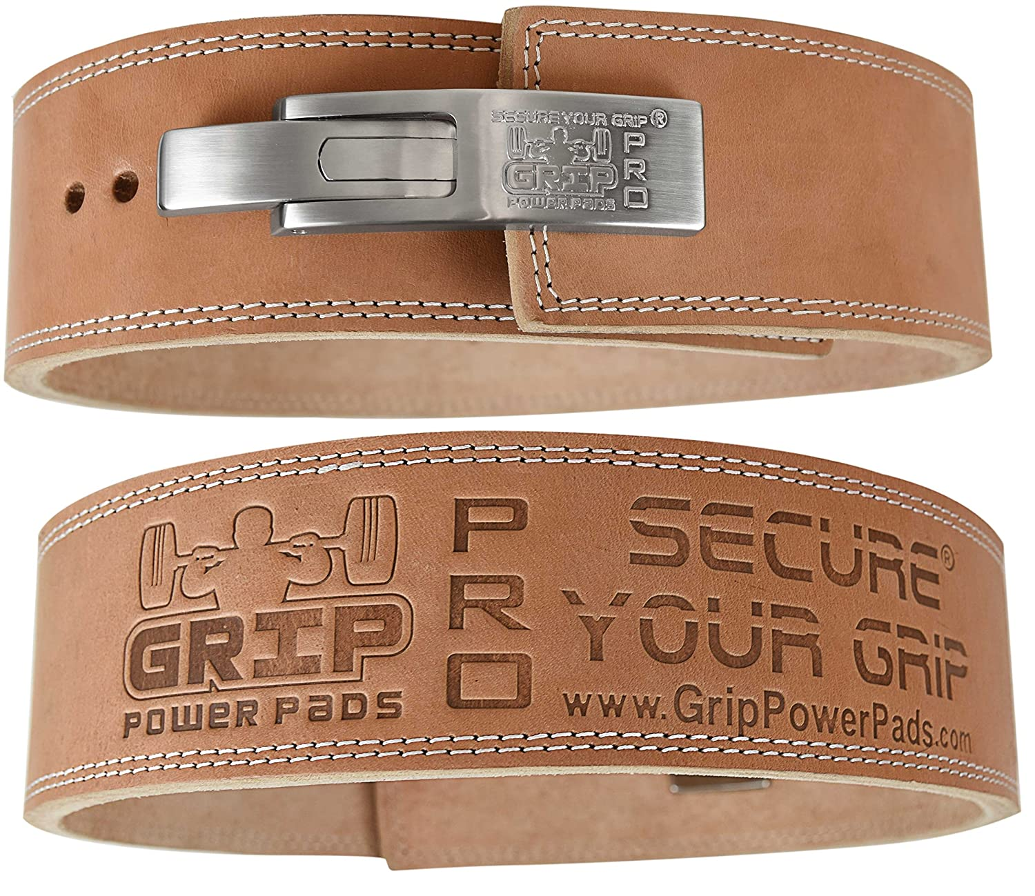 Amazon.com : Lever Buckle Weightlifting Belt Real Genuine Leather ...