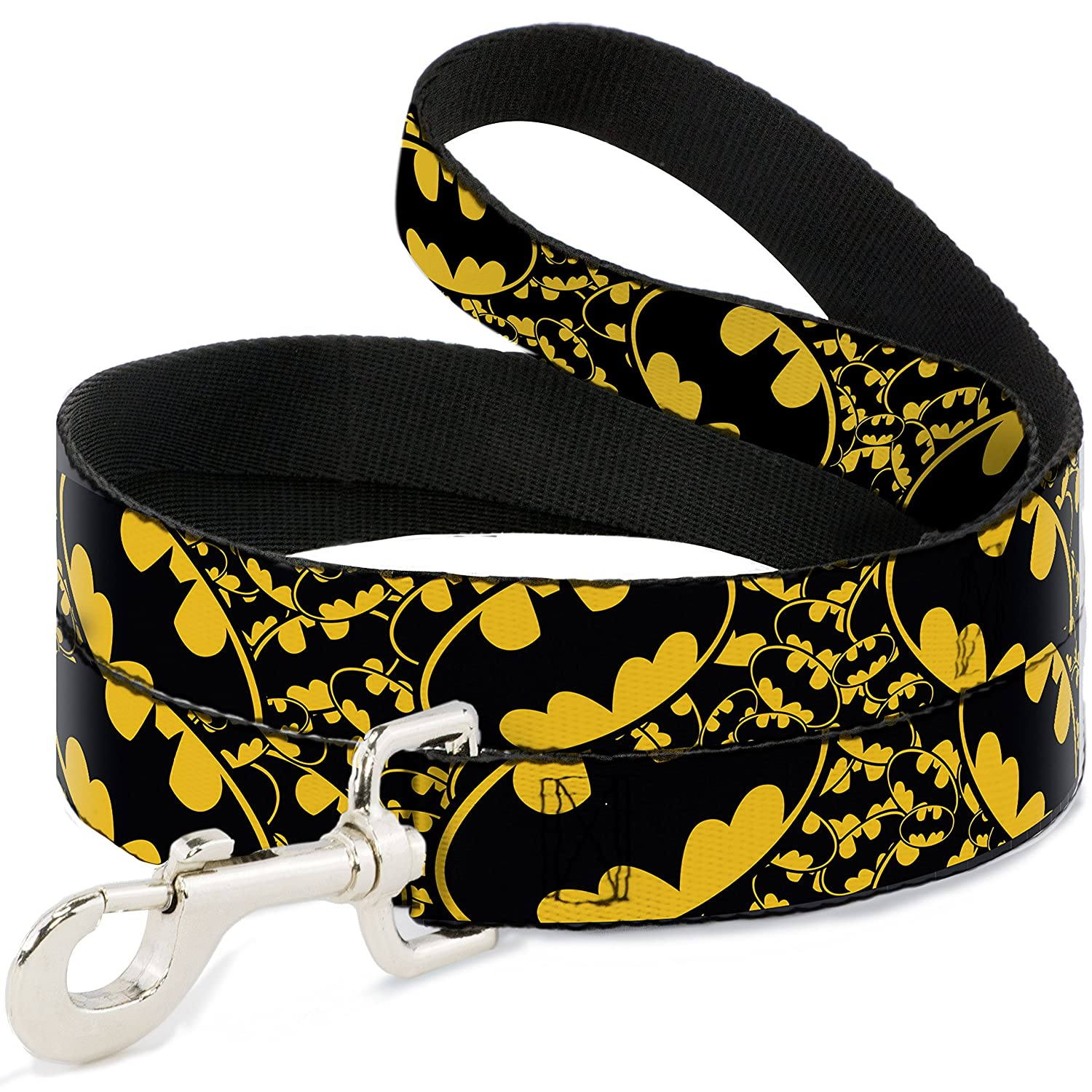 Buckle-Down Pet Leash Bat Signals Stacked w Close-UP Yellow Black 6 Feet Long 1  Wide
