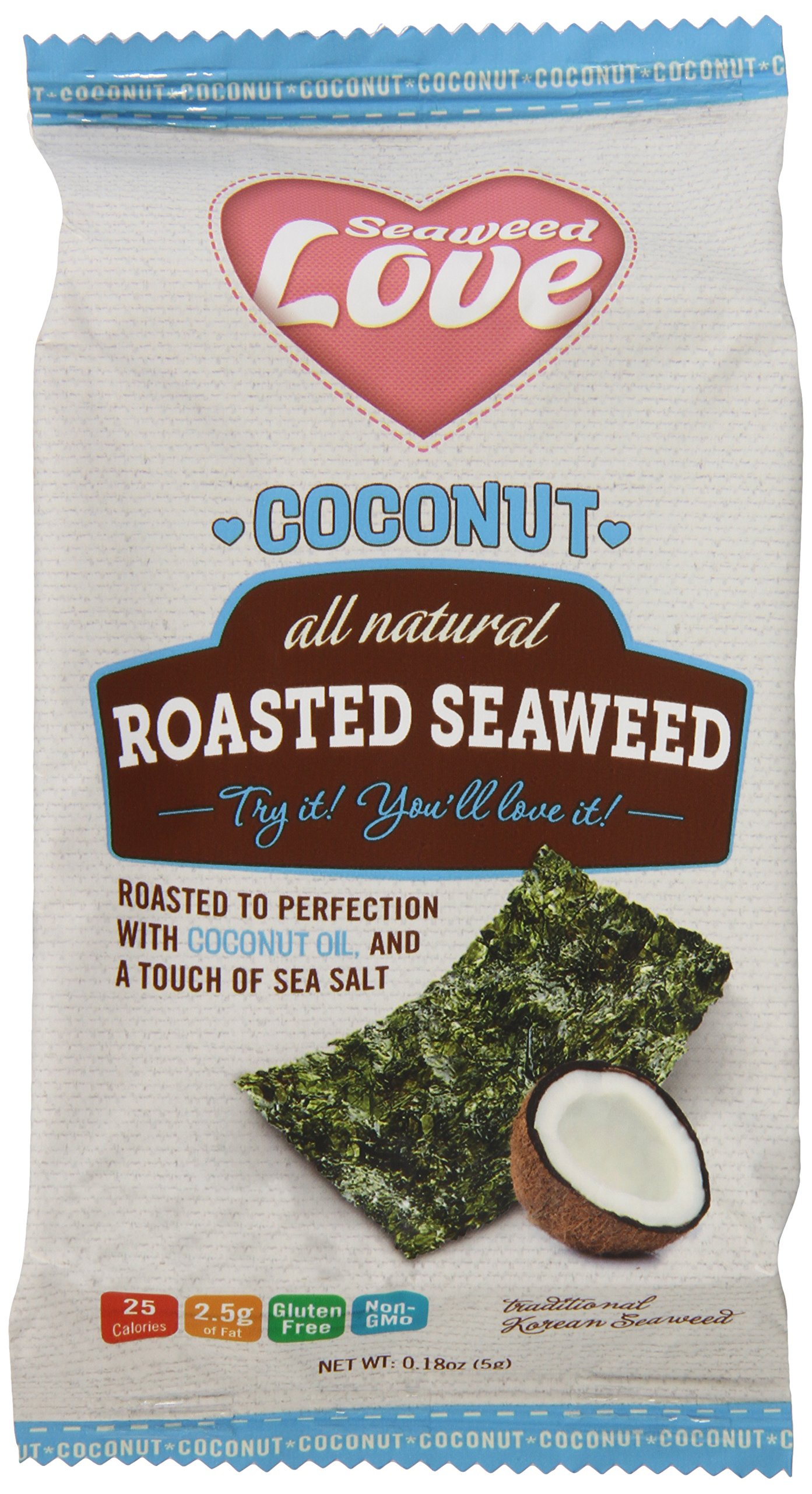 Coconut All Natural Roasted Seaweed, 0.18 Ounce (Pack of 12)