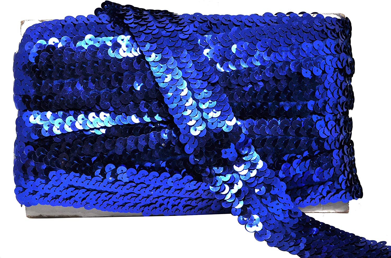 Gnognauq Black Elastic Sequin 10 Yard Flat Glitter Stretch Bling Paillette Fabric Ribbon Metallic Appliqu/é Trim Lace for Dress Embellish Metallic Braid Trim Embellishment