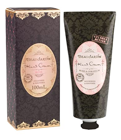 Amazon.com : Beau Jardin Rose & Geranium 15 Percent Shea Butter Hand ...