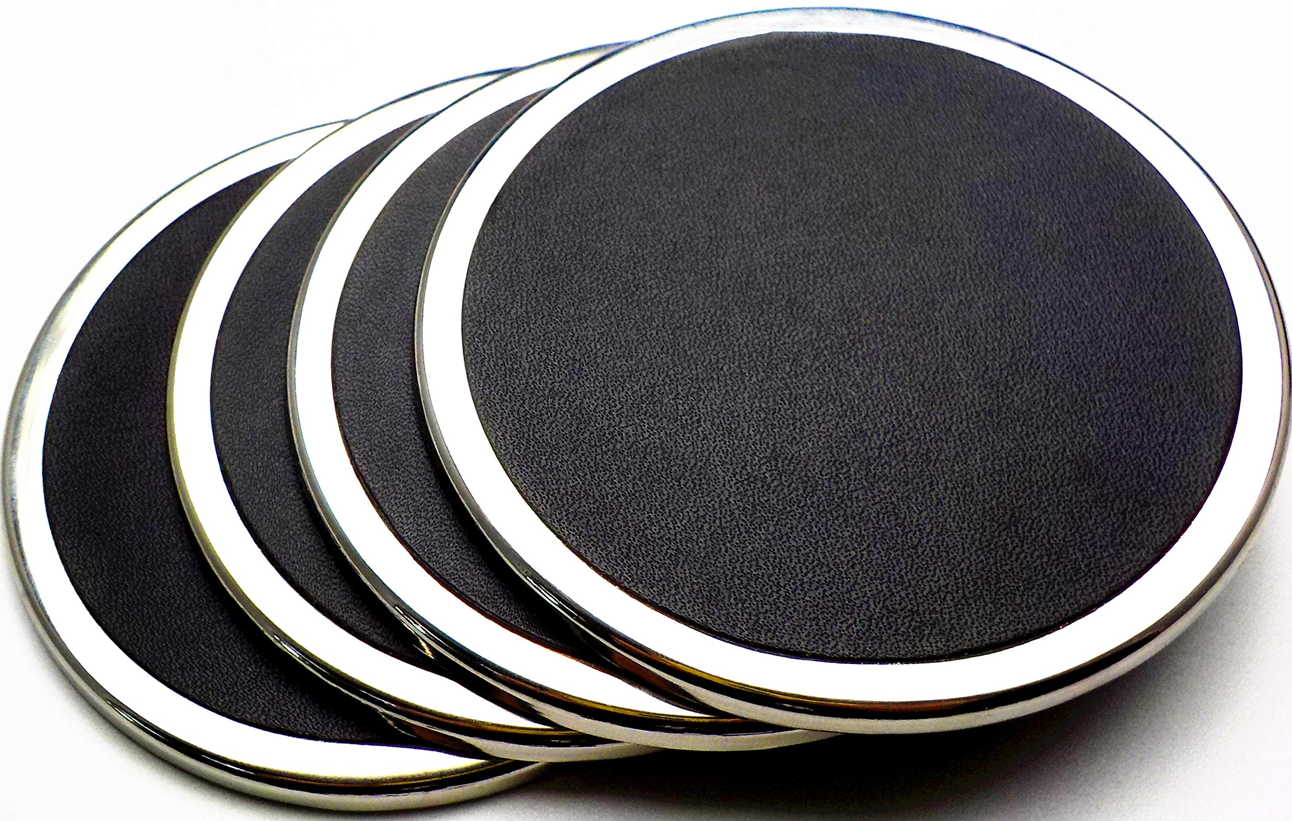 YouShop Luxury Coasters for Drinks - Premium Metal, Black Leather, Velvet Base | Contemporary and Clean Style, Modern Coaster Set for Living Room, Kitchen, or Office Cup Coasters | Protect Furniture by YouShop (Image #3)