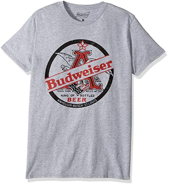 7d45d75c Anheuser-Busch Men's Budweiser Short-Sleeve Graphic T-Shirt, Heather Grey,