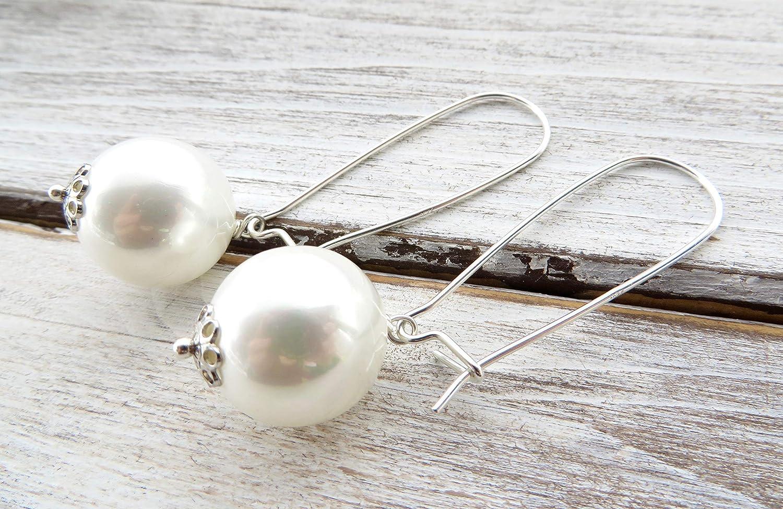 Pendientes de perlas blancas de nacar, pendientes de plata de ley 925, pendientes para novia, joyas para boda, joyería de moda para las mujeres