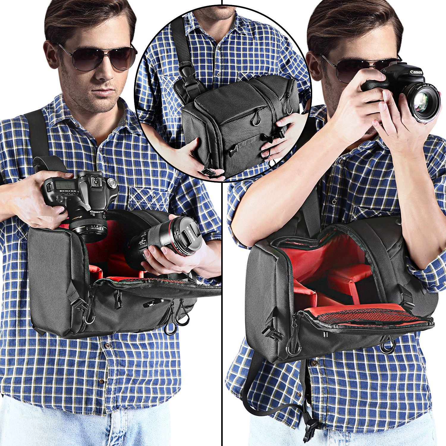 Tripods and Other Accessories Lens Gray Neewer Sling Camera Bag Nikon, Canon, Sony Pentax Olympus etc. Camera Case Backpack with Padded Dividers for DSLR and Mirrorless Cameras