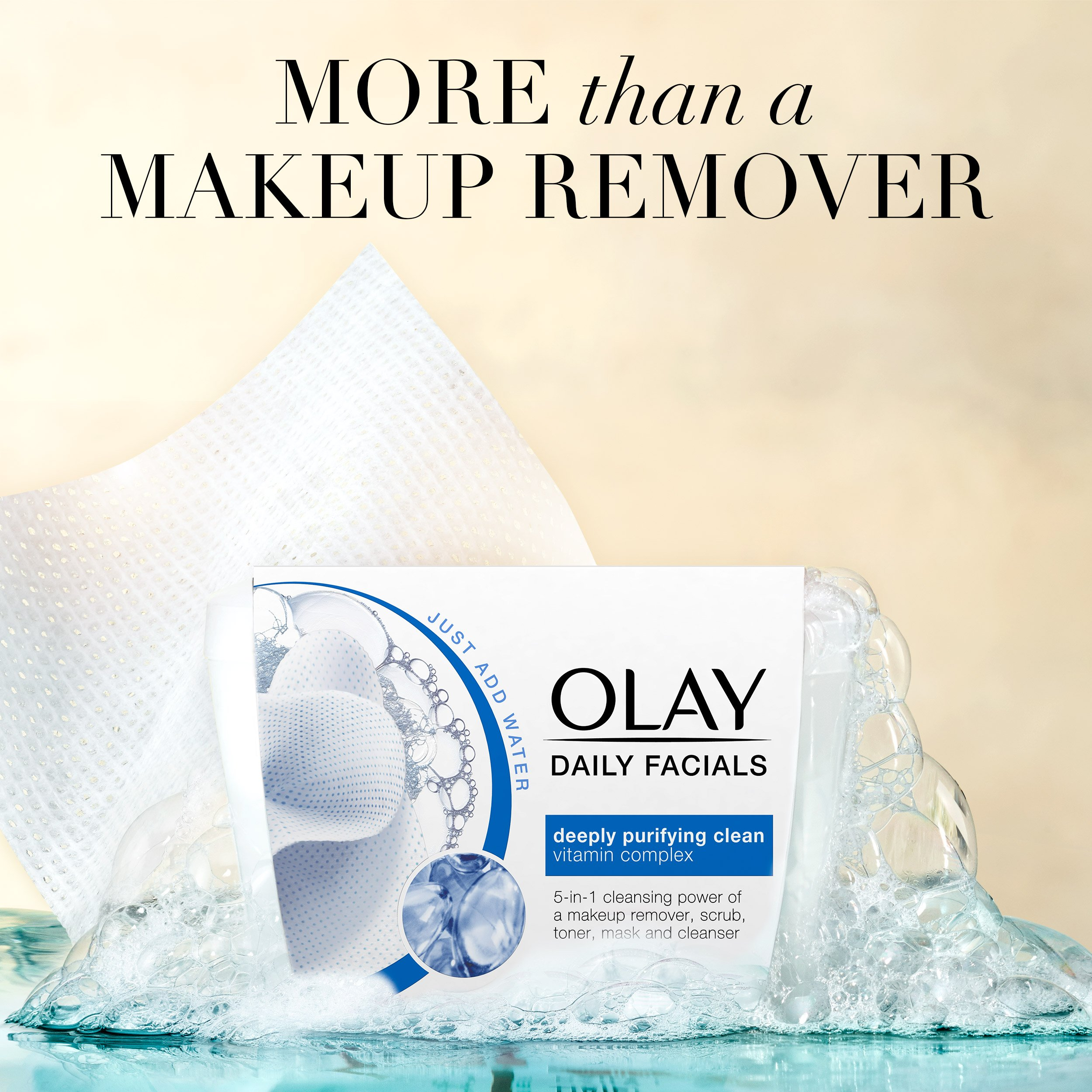 Olay Daily Facial Makeup Remover Wipes & 4-In-1 Water Activated Facial Cleanser Cloths, Deeply Clean 66 Count by Olay (Image #6)