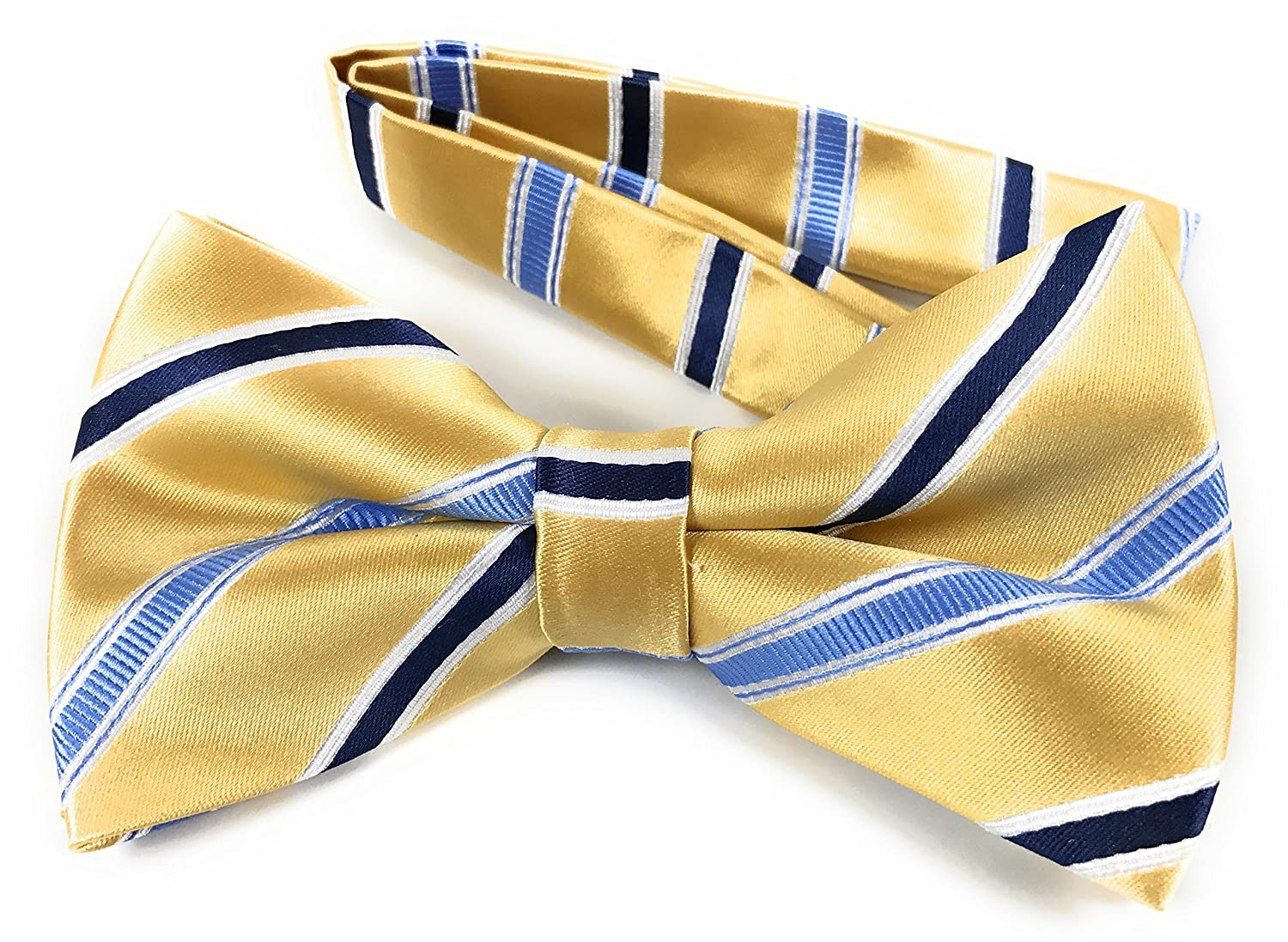 Honey Gold Woven Pre-Tied Bow Tie with Steel Blue and Dark Navy Blue Stripes