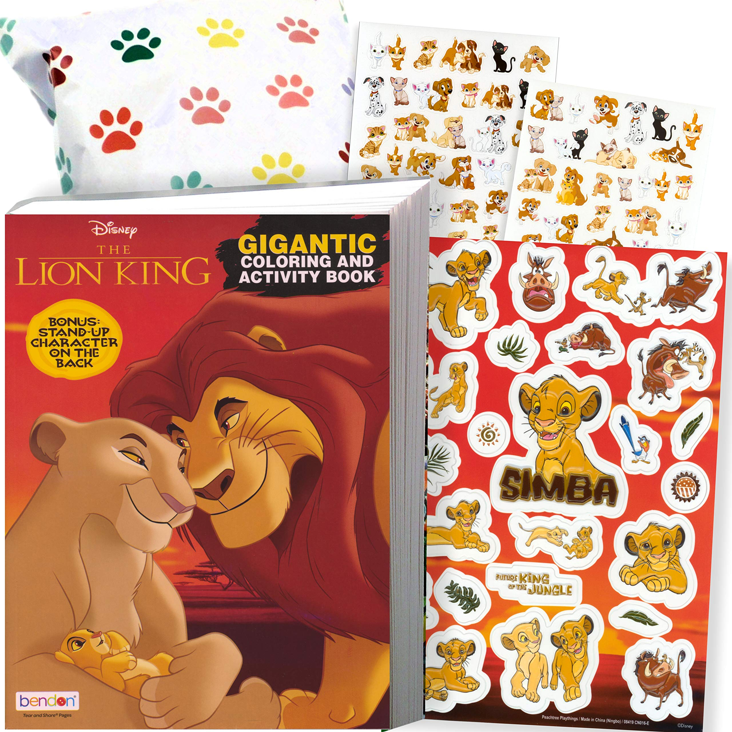 Disney Lion King Coloring Book and Stickers Gift Set - Bundle Includes Gigantic 192 pg Coloring Book with Stickers in Specialty Gift Bag (Lion King)