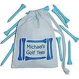 Blue Personalised Golf Tees Bag PLUS 10 Blue Golf Tees - Cotton Drawstring bag 10cm x 14cm