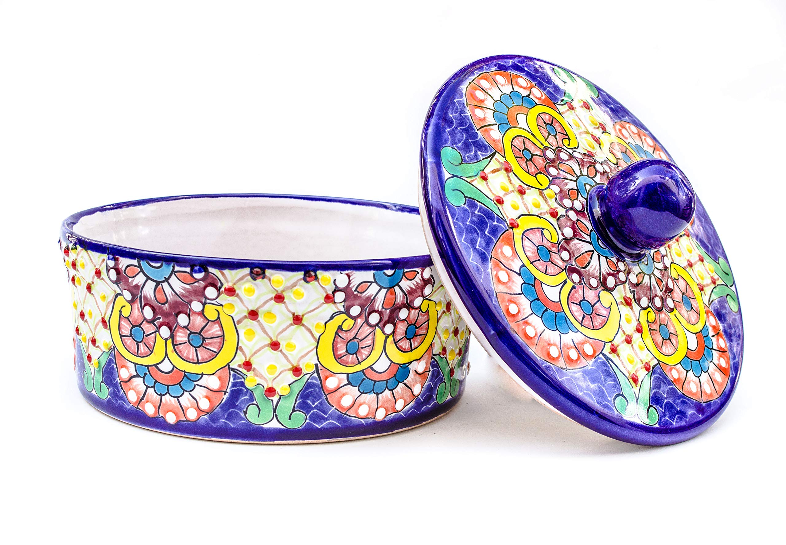 Unique Mexican Blue Ceramic Tortilla Warmer Pancake Holder Talavera Pottery 8 in diameter. Tortilla Storage Container can also be used for Roti Warmer, Soft Taco Shell Quesadilla Burrito Warmer.