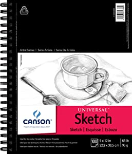 """Canson Universal Sketch Pad, Side Wire Bound, 9"""" x 12"""", White"""